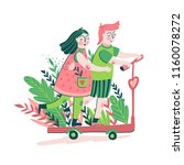 cute young couple riding a... | Shutterstock .eps vector #1160078272