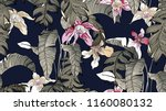 tropical plants seamless... | Shutterstock .eps vector #1160080132