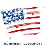 grunge american usa flag  ...   Shutterstock . vector #1160084068