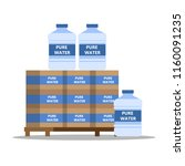 bottled pure water for coolers. ... | Shutterstock .eps vector #1160091235