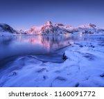 frozen sea coast and beautiful... | Shutterstock . vector #1160091772