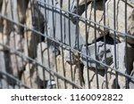 close up view of a steel gabion ... | Shutterstock . vector #1160092822