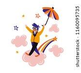 dreamer flying umbrella. relax... | Shutterstock .eps vector #1160095735