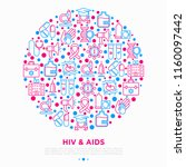 hiv and aids concept in circle... | Shutterstock .eps vector #1160097442
