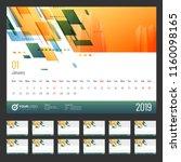 year 2019  calendar design. | Shutterstock .eps vector #1160098165