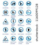 swimming pool rules. public and ... | Shutterstock .eps vector #1160099128