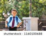 cute african american schoolboy ... | Shutterstock . vector #1160100688
