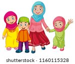 a muslim family on white... | Shutterstock .eps vector #1160115328