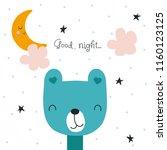 kids print with funny bear and... | Shutterstock .eps vector #1160123125