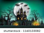 paper art style of haunted... | Shutterstock .eps vector #1160133082