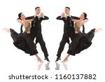 ballroom dance couple in a... | Shutterstock . vector #1160137882