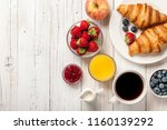 breakfast with croissants ... | Shutterstock . vector #1160139292