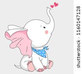 cute white elephant hand drawn... | Shutterstock .eps vector #1160147128