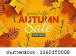 autumn sale banner  3d paper... | Shutterstock .eps vector #1160150008