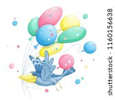 a funny blue bird with a large...   Shutterstock .eps vector #1160156638