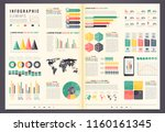 infographic elements with world ... | Shutterstock .eps vector #1160161345