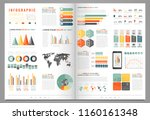 infographic elements with world ... | Shutterstock .eps vector #1160161348