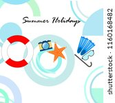 summer holiday hat flip flops... | Shutterstock .eps vector #1160168482