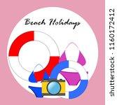 beach holiday  camera  swimsuit ... | Shutterstock .eps vector #1160172412