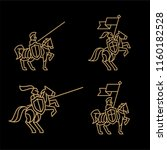 set of 4 logo of a knight on a... | Shutterstock .eps vector #1160182528