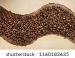 coffee beans and aged old paper ...