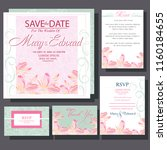 wedding invitation with elegant ... | Shutterstock .eps vector #1160184655