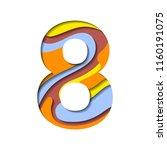 alphabet paper cut number eight ...   Shutterstock .eps vector #1160191075