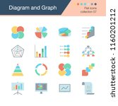 diagram and graph icons. flat...   Shutterstock .eps vector #1160201212