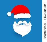 santa claus hat and beard paper ... | Shutterstock .eps vector #1160205085