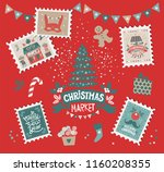 merry christmas and happy new... | Shutterstock .eps vector #1160208355
