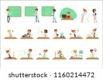 kids in lab coats doing science ... | Shutterstock .eps vector #1160214472