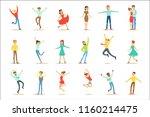 people overwhelmed of happiness ... | Shutterstock .eps vector #1160214475