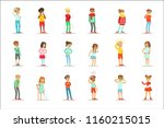 sick children feeling unwell... | Shutterstock .eps vector #1160215015