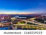 city overpass at night ... | Shutterstock . vector #1160219215