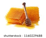 honeycomb with honey on white... | Shutterstock . vector #1160229688