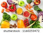 flat lay composition with diet... | Shutterstock . vector #1160253472
