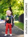 cute little schoolboy outdoors... | Shutterstock . vector #1160263462