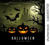 happy halloween full moon three ... | Shutterstock .eps vector #1160305735