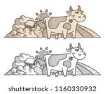 funny cow  farm and rural... | Shutterstock .eps vector #1160330932