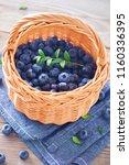 lots of fresh blueberries  ... | Shutterstock . vector #1160336395