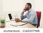 satisfying call. young black... | Shutterstock . vector #1160337988