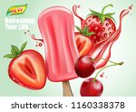 strawberry and cherry fruit... | Shutterstock .eps vector #1160338378