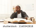 tired african american student... | Shutterstock . vector #1160342818