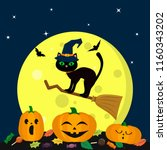 a halloween cat in a witch hat... | Shutterstock .eps vector #1160343202