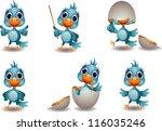 Cute Baby Blue Bird Cartoon Set