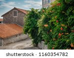 quiet european street with a... | Shutterstock . vector #1160354782