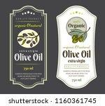 set of labels for olive oils.... | Shutterstock .eps vector #1160361745
