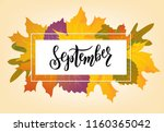 hand sketched september text.... | Shutterstock .eps vector #1160365042