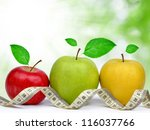 apple collection with measuring ... | Shutterstock . vector #116037766