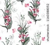 tropical vector seamless flower ... | Shutterstock .eps vector #1160388052